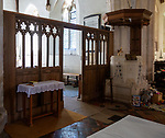 North transept 14th century wooden rood screen, Great Bedwyn church, Wiltshire, England, UK