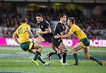Sonny Bill Williams (L) and Dan Carter. All Blacks beat Australia 22-0. Eden Park, Auckland. 25 August 2012. Photo: Marc Weakley