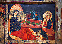 Detail from the twelfth century Romanesque Altar Front of Avia depicting a scene from the Nativity with St. Joseph, Mary and the baby Christ, from the church of Santa Maria d'Avia, Spain. National Art Museum of Catalonia, Barcelona. MNAC 15784