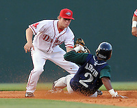 June 19, 2009: Second baseman Zach Gentile (7) of the Greenville Drive tags out Jay Austin (2) of the Lexington Legends during a steal attempt at Fluor Field at the West End in Greenville, S.C. Photo by: Tom Priddy/Four Seam Images