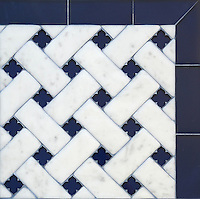 Fraser, a stone waterjet mosaic, shown in Carrara Venetian honed and Deep Ultramarine glass flowers with honed Deep Ultramarine glass bricks, is part of the Altimetry&reg; Collection for New Ravenna.<br />