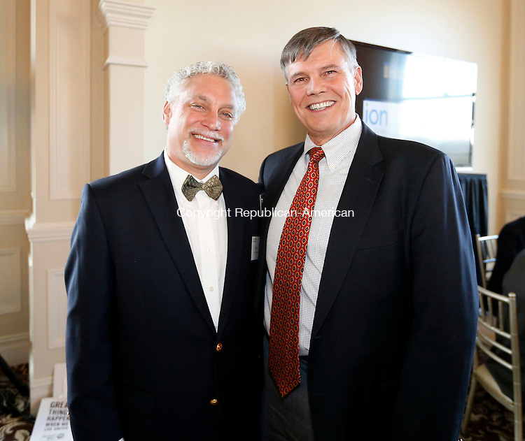 Prospect, CT- 16 April 2015-041615CM11-  Social moments---  From left, Steven Chiappalone of Watertown and George Strobel Jr. of Marjan Inc are photographed during the 29th Annual United Way of Greater Waterbury Community Leaders Dinner at Aria Wedding and Banquet Facility in Prospect on Thursday, April 16, 2015.  Christopher Massa Republican-American