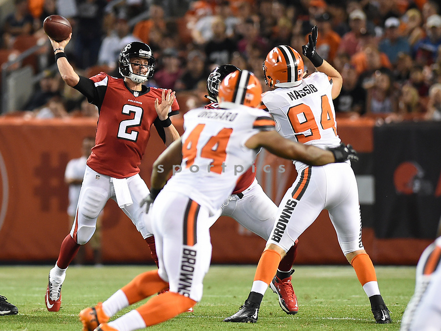 CLEVELAND, OH - AUGUST 18, 2016: Quarterback Matt Ryan #2 of the Atlanta Falcons throws a pass in the first quarter of a preseason game on August 18, 2016 against the Cleveland Browns at FirstEnergy Stadium in Cleveland, Ohio. Atlanta won 24-13. (Photo by: 2016 Nick Cammett/Diamond Images) *** Local Caption *** Matt Ryan