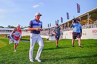 Rickie Fowler (USA) departs the 17th green during round 3 of the Honda Classic, PGA National, Palm Beach Gardens, West Palm Beach, Florida, USA. 2/25/2017.<br /> Picture: Golffile | Ken Murray<br /> <br /> <br /> All photo usage must carry mandatory copyright credit (&copy; Golffile | Ken Murray)
