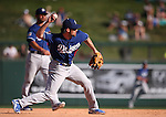 Los Angeles Dodgers&rsquo; Charlie Culberson makes a play in a spring training game in Scottsdale, Ariz., on Friday, March 18, 2016. <br />Photo by Cathleen Allison