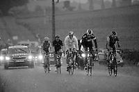 5 man breakaway caught in a rainstorm: Martin Elmiger (SUI/IAM), Arnaud Gérard (FRA/Bretagne-Séché Environnement), Rein Taaramaë (EST/Cofidis), Cyril Gautier (FRA/Europcar) & Tom-Jelte Slagter (NLD/Garmin-Sharp)<br /> <br /> 2014 Tour de France<br /> stage 19: Maubourguet - Bergerac (208km)