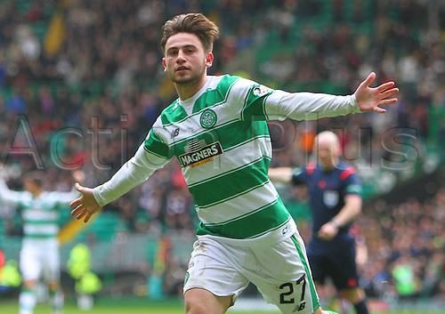 02.04.2016. Celtic Park, Glasgow, Scotland. Scottish Football Premiership Celtic versus Hearts. Patrick Roberts celebrates his second goal of the match