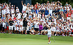 DES MOINES, IA - AUGUST 19: USA's Cristie Kerr reacts after her putt falls in the hole to win their match 5&3 Saturday at the 2017 Solheim Cup in Des Moines, IA. (Photo by Dave Eggen/Inertia)