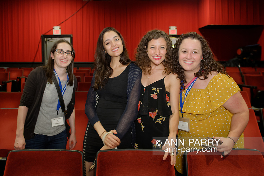Bellmore, New York, USA. July 18, 2018. L-R, STEPHANIE DONNELLY, director and writer of short film The Adventures of Penny Patterson; AJNA JAI, actor playing Penny Patterson; BETHANY NICOLE TAYLOR, lead actress in romcom short film Joe; and SHARA ASHLEY ZEIGER, producer and writer of film Joe, chat after final block of films at LIIFE 2018, the Long Island International Film Expo.