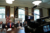 United States President Donald J. Trump speaks during a Cabinet Meeting at the White House in Washington, DC on October 21, 2019. Pictured from left to right: US Secretary of Health and Human Services (HHS) Alex Azar, The President, US Secretary of State Mike Pompeo, and US Secretary of Labor Eugene Scalia.<br /> Credit: Yuri Gripas / Pool via CNP