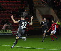 Lincoln City's Harry Anderson celebrates scoring his side's goal<br /> <br /> Photographer Andrew Vaughan/CameraSport<br /> <br /> The EFL Sky Bet League Two - Crewe Alexandra v Lincoln City - Wednesday 26th December 2018 - Alexandra Stadium - Crewe<br /> <br /> World Copyright &copy; 2018 CameraSport. All rights reserved. 43 Linden Ave. Countesthorpe. Leicester. England. LE8 5PG - Tel: +44 (0) 116 277 4147 - admin@camerasport.com - www.camerasport.com