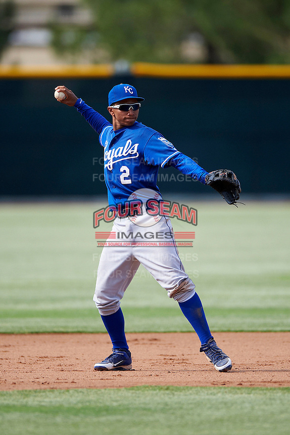 Kansas City Royals minor league infielder Carlos Garcia #2 during an instructional league game against the San Francisco Giants at the Giants Baseball Complex on October 18, 2012 in Scottsdale, Arizona. (Mike Janes/Four Seam Images)
