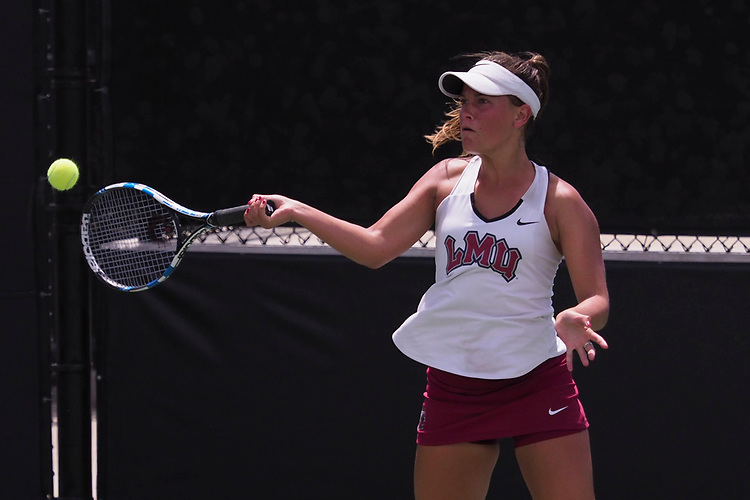 April 27, 2017; Claremont, CA, USA; Loyola Marymount Lions player Siobhan Anderson during the WCC Tennis Championships at Biszantz Family Tennis Center.