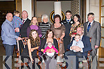 Lisa and Simon Robertson Milltown celebrate the christening of their baby Laia in the Brehon Hotel Killarney on Saturday front row l-r: Jade, Lisa, Simon, Laia and Kye Robertson. Back row: David Whooley, Rory, Fergal Morgan, Oonagh Duggan, Jo Collins, Irene Whooley, Steve Anderson, Deirdre Morgan and Tim Whooley