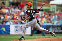 11 March 2009: #9 Pim Walsma of the Netherlands pitches against Puerto Rico during the 2009 World Baseball Classic Pool D game 6 at Hiram Bithorn Stadium in San Juan, Puerto Rico. Puerto Rico wins 5-0 over the Netherlands