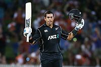 New Zealand's Ross Taylor scores his 18th ODI hundred. New Zealand Blackcaps v England. One Day International Cricket. Seddon Park, Hamilton, New Zealand on Sunday 25 February 2018.<br /> <br /> Copyright photo: &copy; Bruce Lim / www.photosport.nz