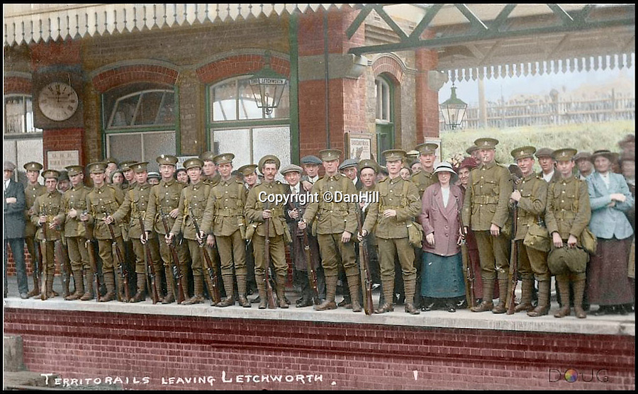 BNPS.co.uk (01202 558833)<br /> Pic: DanHill/BNPS<br /> <br /> ****Please use full byline****<br /> <br /> The digitally coulorized image of Jack Satterthwaite and his platoon in 1914.<br /> <br /> Black and white photos of British Tommies preparing for the First World War have been brought to life after they were digitally colourised to mark the 100th anniversary of the start of the conflict.<br /> <br /> Some of the snaps show soldiers in vivid colour getting battle-ready at training camps in the Home Counties in July 1914.<br /> <br /> Others depict the men dressed in their smart green uniforms on parade in a market square on the eve of war and then stood on a train station platform as they head off for France.<br />  <br /> As well as being filled with colour, some of the photos are tinged with poignancy as many of the men pictured never came back.