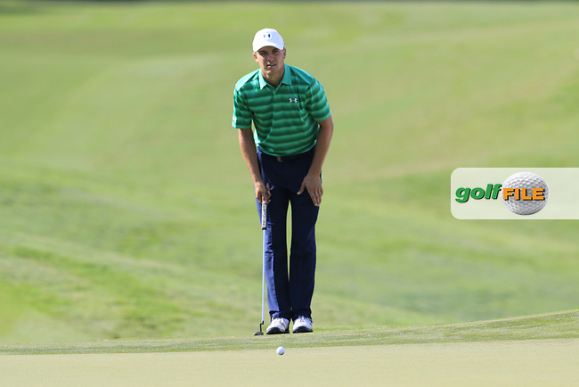 Jordan Spieth (USA) on the 14th green during Thursday's Round 1 of the 2017 PGA Championship held at Quail Hollow Golf Club, Charlotte, North Carolina, USA. 10th August 2017.<br /> Picture: Eoin Clarke | Golffile<br /> <br /> <br /> All photos usage must carry mandatory copyright credit (&copy; Golffile | Eoin Clarke)