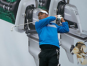14.10.2014. The London Golf Club, Ash, England. The Volvo World Match Play Golf Championship.  Thongchai Jaidee [THI] tee shot on the par three eighth hole during the Pro-Am event.