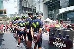 Movistar Team at sign on before the start of Stage 2 the Nation Towers Stage of the 2017 Abu Dhabi Tour, running 153km around the city of Abu Dhabi, Abu Dhabi. 24th February 2017<br /> Picture: ANSA/Matteo Bazzi | Newsfile<br /> <br /> <br /> All photos usage must carry mandatory copyright credit (&copy; Newsfile | ANSA)