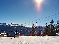 Wintersport bei Untermarkter Alm im Ski-Gebiet Hochimst bei Imst, Tirol, Österreich, Europa<br /> winter sports sledge, skiing area Hochimst, Imst, Tyrol, Austria, Europe