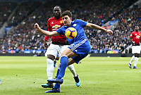 Harry Maguire of Leicester City and Romelu Lukaku of Manchester United during the Premier League match between Leicester City and Manchester United at King Power Stadium on February 3rd 2019 in Leicester, England. (Photo by Leila Coker/phcimages.com)<br /> Foto PHC Images / Insidefoto <br /> ITALY ONLY