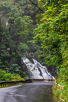 A waterfall along the winding road to Hana, Maui.
