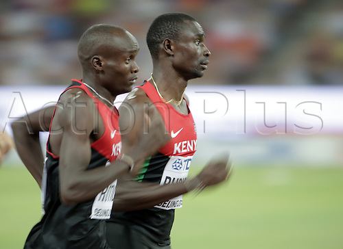 25.08.2015. Beijing, China.  David Rudisha (R) of Kenya in action during the men's 800 final ahead of Ferguson Cheruiyot Rotich of Kenya during the Beijing 2015 IAAF World Championships at the National Stadium, also known as Bird's Nest, in Beijing, China, 25 August 2015.