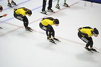 SCHAATSEN: HEERENVEEN: 24-10-2014, IJsstadion Thialf, Topsporttraining Team LottoNL - Jumbo, Roxanne van Hemert, Diane Valkenburg, Laurine van Riessen, ©foto Martin de Jong