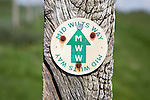 Close up of way marker sign for the Mid Wilts Way footpath route in Wiltshire, England, UK.