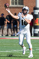 College Park, MD - SEPT 23, 2017: UCF Knights quarterback McKenzie Milton (10) throws the ball down field during game between Maryland and UCF at Capital One Field at Maryland Stadium in College Park, MD. (Photo by Phil Peters/Media Images International)