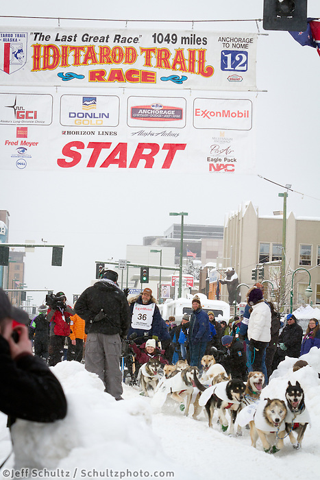 Mitch Seavey leaves the 2011 Iditarod ceremonial start line in downtown Anchorage, during the 2012 Iditarod..Jim R. Kohl/Iditarodphotos.com