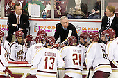 Mike Cavanaugh (BC - Associate Head Coach), Quinn Smith (BC - 27), Jerry York (BC - Head Coach), Michael Matheson (BC - 5), Greg Brown (BC - Associate Head Coach), Colin Sullivan (BC - 2) - The Boston College Eagles defeated the visiting Merrimack College Warriors 4-3 on Friday, November 16, 2012, at Kelley Rink in Conte Forum in Chestnut Hill, Massachusetts.
