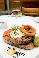 Tuna hanburger. Dishes at Puntarena restaurant shot for cookbook.  Mexico City July 5, 2007
