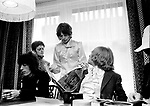Rolling Stones 1968 Bill Wyman, Mick Jagger, Brian Jones and Stones assistant Jo Bergman