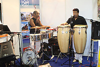 ***NO FEE PIC***.28/01/2011.Members of Sabor Cubanoat the Caribean part of the Holiday World Show in the RDS which runs from Friday 28th Jan - Sunday 30th Jan, Dublin..Photo: Gareth Chaney Collins