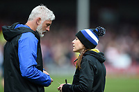 Sophie Bennett of Bath Rugby speaks with Director of Rugby Todd Blackadder. Gallagher Premiership match, between Gloucester Rugby and Bath Rugby on April 13, 2019 at Kingsholm Stadium in Gloucester, England. Photo by: Patrick Khachfe / Onside Images