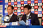 (L-R) Hiromi Hara,  Takashi Sekizuka (JPN), JULY 2, 2012 - Football / Soccer : Japan Men's head coach Takashi Sekizuka attends the press conference of 2012 London Olympic Games squad announcement at The Capitol Hotel Tokyu, Tokyo, Japan. (Photo by Atsushi Tomura/AFLO SPORT)