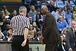 CHAPEL HILL, NC - DECEMBER 30: Wake Forest head coach Danny Manning talks to referee Tim Nestor. The University of North Carolina Tar Heels hosted the Wake Forest University Demon Deacons on December 30, 2017 at Dean E. Smith Center in Chapel Hill, NC in a Division I men's college basketball game. UNC won the game 73-69.