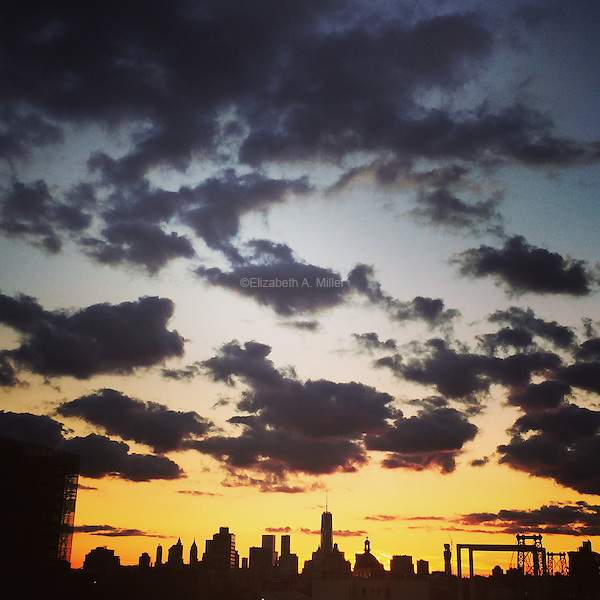 The sunset over New York City on September 11, 2015.