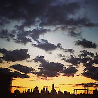The sunset over New York City on September 11, 2015.