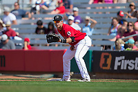Billings Mustangs first baseman Pabel Manzanero (64) on defense against the Missoula Osprey at Dehler Park on August 20, 2017 in Billings, Montana.  The Osprey defeated the Mustangs 6-4.  (Brian Westerholt/Four Seam Images)