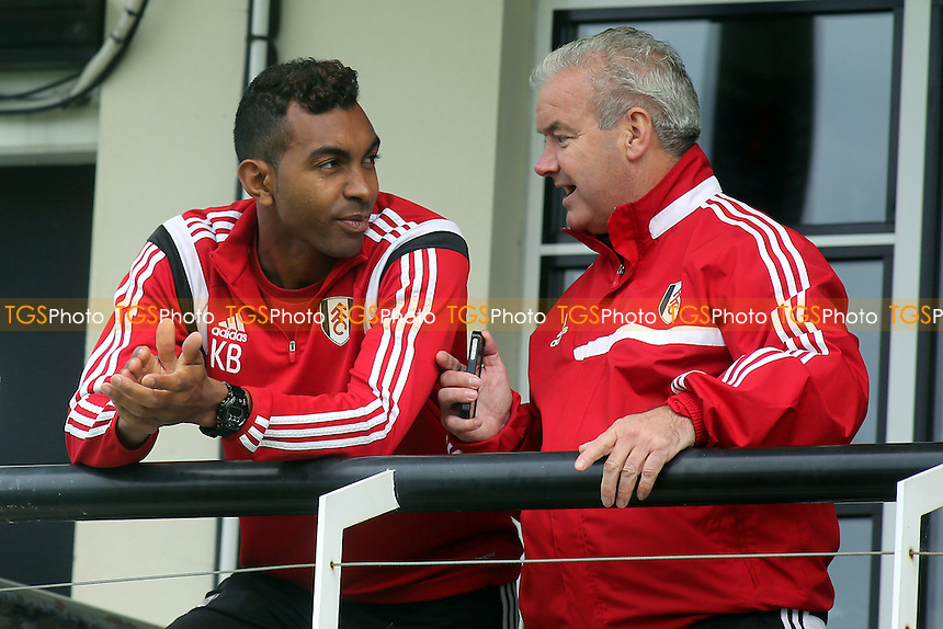 Kevin Betsy, Fulham's Under 12's to Under 14's Head Coach chats with Lee Hagger, Fulham's Academy Operations Manager - Fulham Under-21 vs Liverpool Under-21 - Barclays Under-21 Premier League Football at Motspur Park Training Ground, Surrey - 26/10/14 - MANDATORY CREDIT: Paul Dennis/TGSPHOTO - Self billing applies where appropriate - contact@tgsphoto.co.uk - NO UNPAID USE