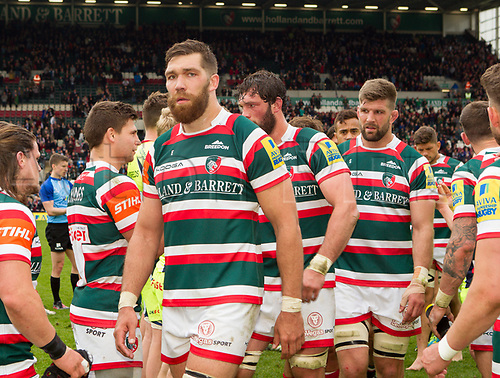 April 29th 2017, Welford Road Stadium, Leicester, England; Aviva Premier league rugby, Leicester Tigers versus Sale;  Graham Kitchener (Leicester Tigers) congratulates players in the team tunnel after the match