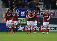 Lawson D'Ath of Northampton celebrates his goal during the Sky Bet League 2 match between Luton Town and Northampton Town at Kenilworth Road, Luton, England on 12 December 2015. Photo by Liam Smith/Prime Media Images.