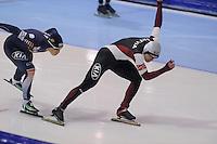 SCHAATSEN: HEERENVEEN: IJsstadion Thialf, 17-11-2012, Essent ISU World Cup, Season 2012-2013, Men 1000 meter Division B, Tae-Bum Mo (KOR), Haralds Silovs (LAT), ©foto Martin de Jong
