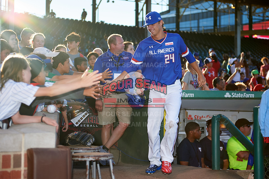 Connor Scott (24) of Plant High School in Tampa, Florida during introductions before the Under Armour All-American Game presented by Baseball Factory on July 29, 2017 at Wrigley Field in Chicago, Illinois.  (Mike Janes/Four Seam Images)