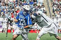 Foxborough, Massachusetts - May 28, 2018:  NCAA Division I Lacrosse final.  Yale University (white) defeated Duke University (blue/white) 13-11 at Gillette Stadium.