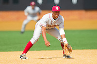 Florida State Seminoles third baseman Sherman Johnson #32 on defense against the Wake Forest Demon Deacons in the completion of the suspended game from March 23rd at Wake Forest Baseball Park on March 24, 2012 in Winston-Salem, North Carolina.  The Seminoles defeated the Demon Deacons 5-4 in 11 innings.  (Brian Westerholt/Four Seam Images)