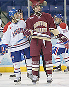 JR Bria, Brian Boyle (Rene Gauthier) - The University of Massachusetts-Lowell River Hawks defeated the Boston College Eagles 6-3 on Saturday, February 25, 2006, at the Paul E. Tsongas Arena in Lowell, MA.